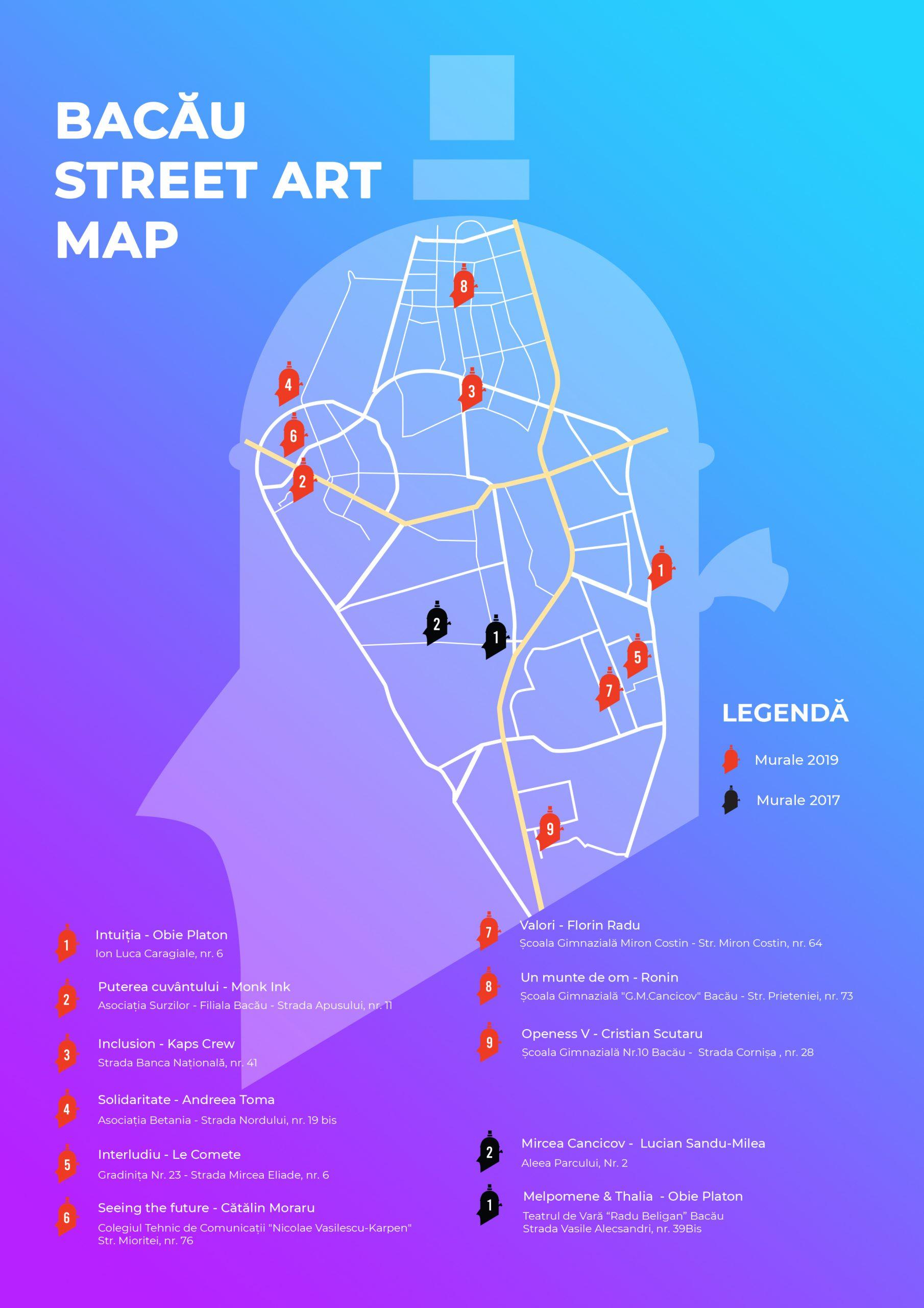 Harta streetart Zidart Bacau